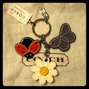☆NWT Rare COACH large Ladybug Flower Butterfly Fob